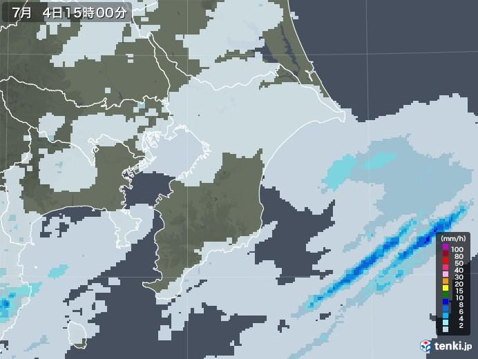 千葉県の雨雲レーダー(2020年07月04日)