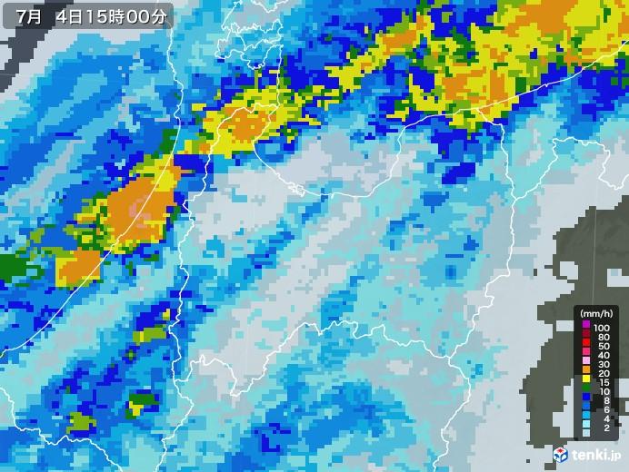 富山県の雨雲レーダー(2020年07月04日)