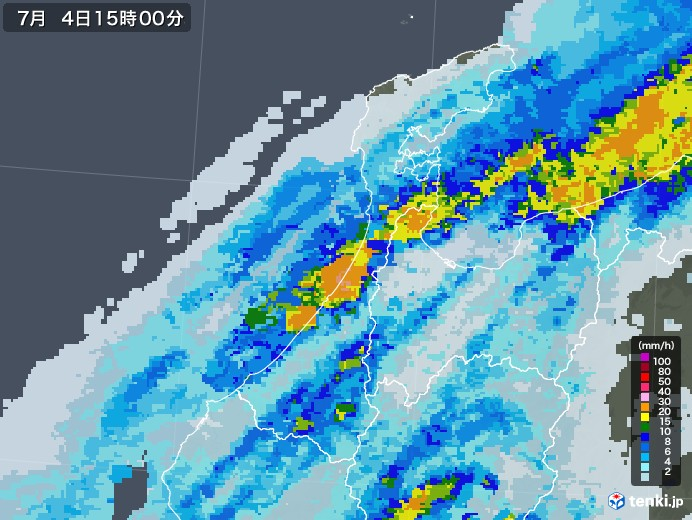 石川県の雨雲レーダー(2020年07月04日)