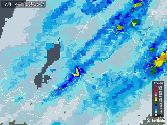 福井県の雨雲レーダー(2020年07月04日)