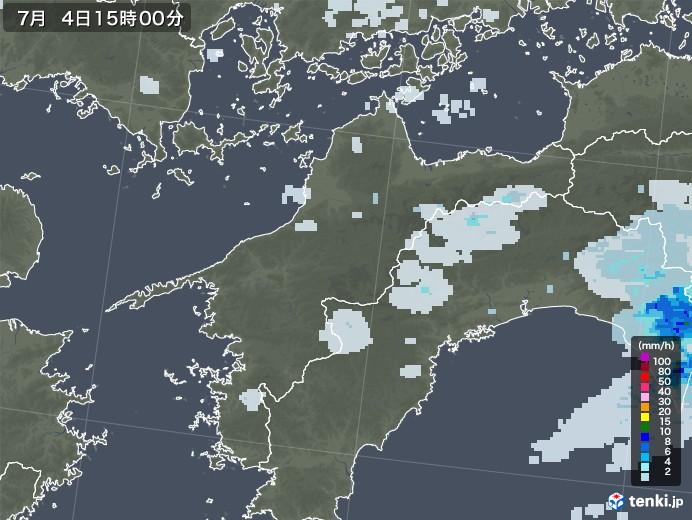 愛媛県の雨雲レーダー(2020年07月04日)