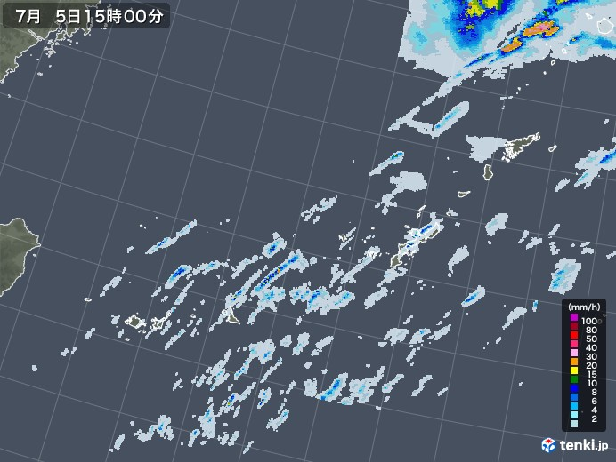 沖縄地方の雨雲レーダー(2020年07月05日)