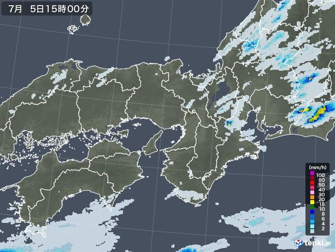 近畿地方の雨雲レーダー(2020年07月05日)