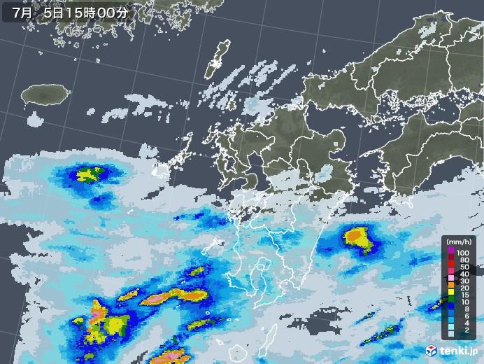 九州地方の雨雲レーダー(2020年07月05日)