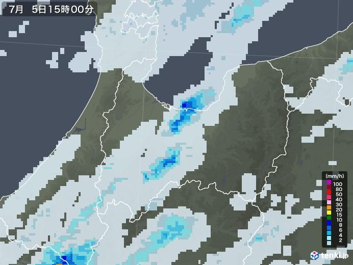 富山県の雨雲レーダー(2020年07月05日)