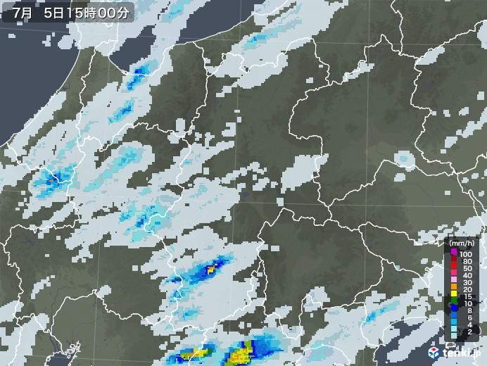 長野県の雨雲レーダー(2020年07月05日)