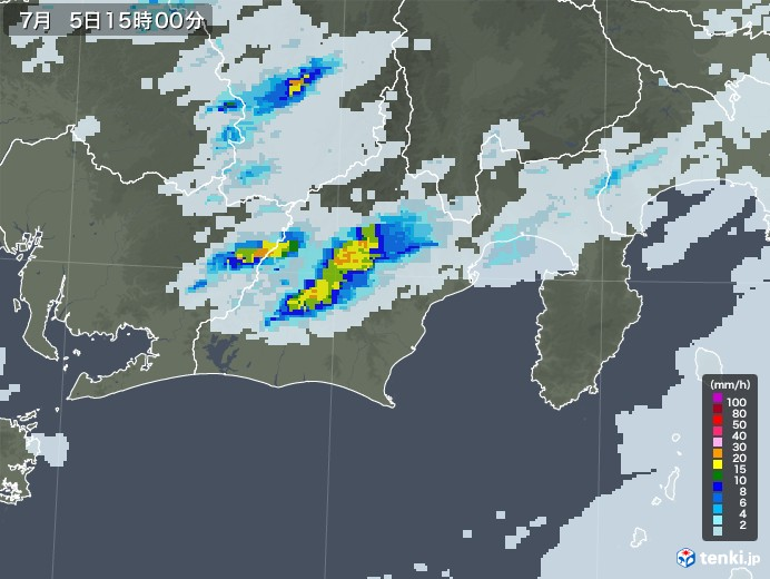 静岡県の雨雲レーダー(2020年07月05日)