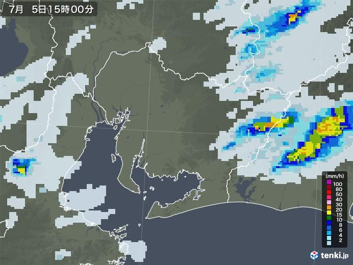 愛知県の雨雲レーダー(2020年07月05日)