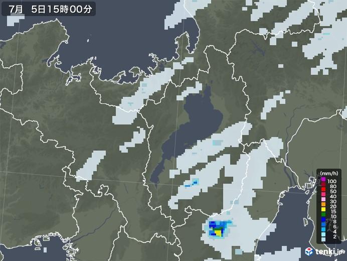 滋賀県の雨雲レーダー(2020年07月05日)