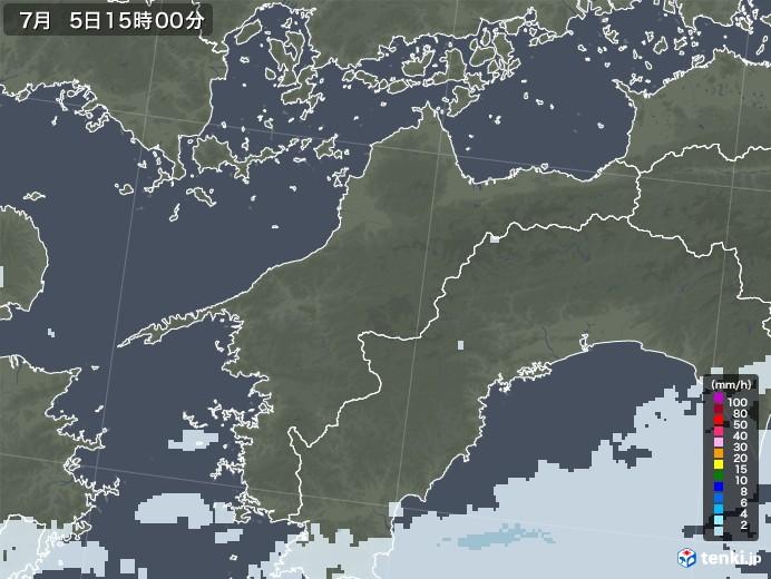 愛媛県の雨雲レーダー(2020年07月05日)