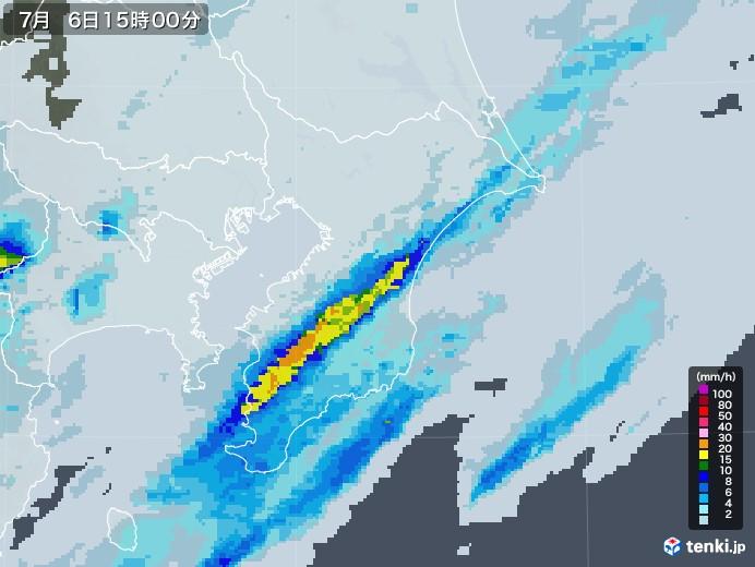 千葉県の雨雲レーダー(2020年07月06日)