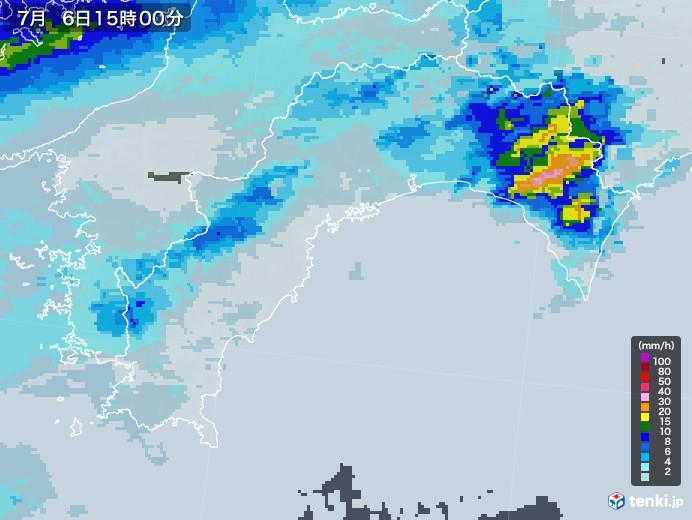 高知県の雨雲レーダー(2020年07月06日)