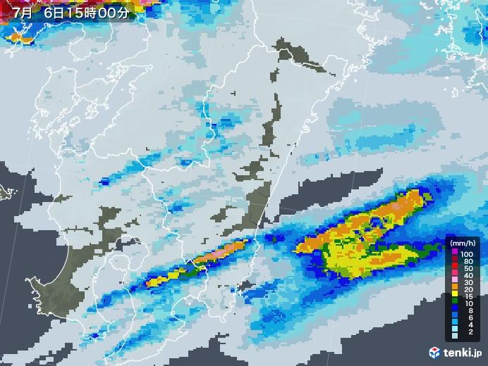 宮崎県の雨雲レーダー(2020年07月06日)