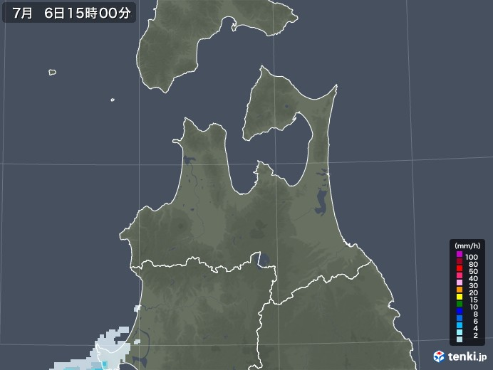 青森県の雨雲レーダー(2020年07月06日)