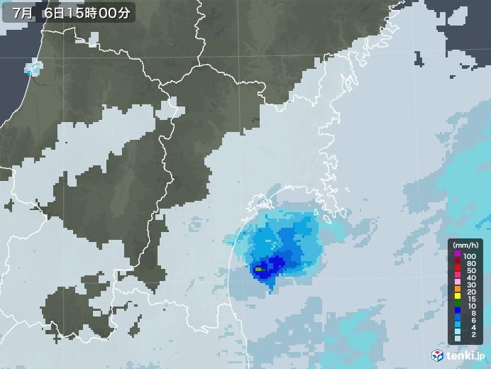 宮城県の雨雲レーダー(2020年07月06日)