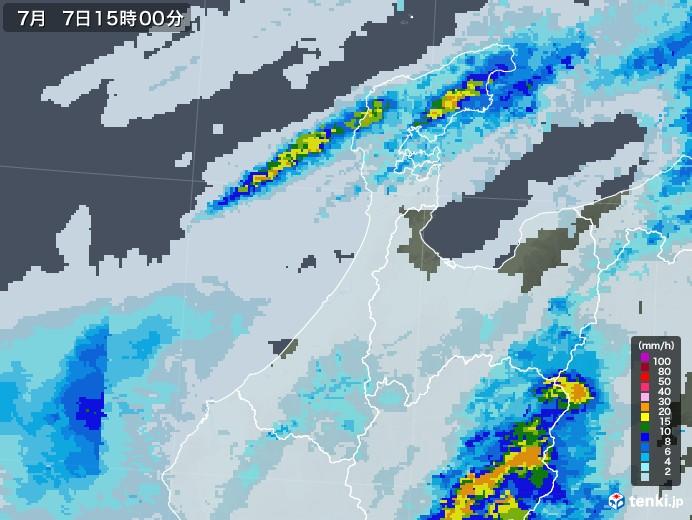 石川県の雨雲レーダー(2020年07月07日)