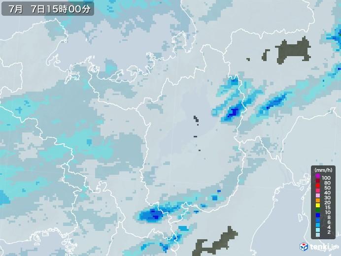 滋賀県の雨雲レーダー(2020年07月07日)