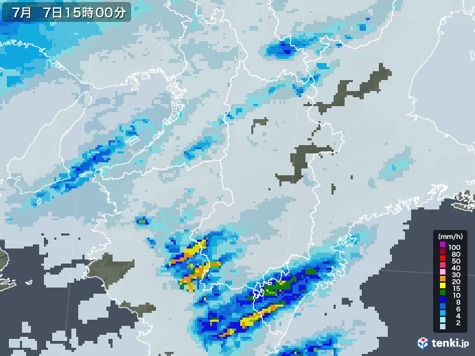 奈良県の雨雲レーダー(2020年07月07日)