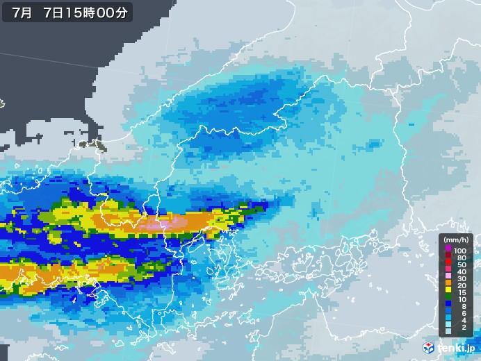 広島県の雨雲レーダー(2020年07月07日)