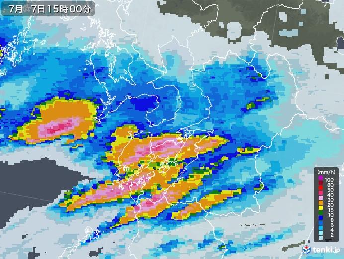熊本県の雨雲レーダー(2020年07月07日)