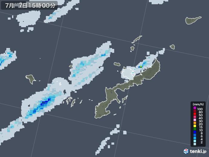 沖縄県の雨雲レーダー(2020年07月07日)