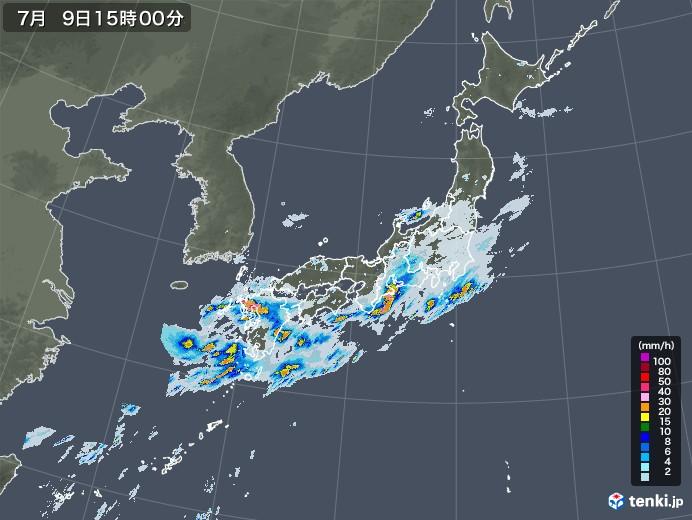 雨雲レーダー(2020年07月09日)
