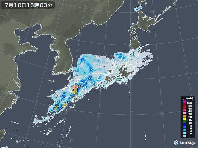 雨雲レーダー(2020年07月10日)
