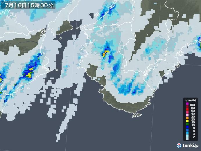 和歌山県の雨雲レーダー(2020年07月10日)