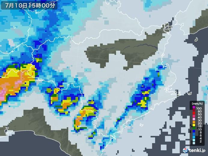 徳島県の雨雲レーダー(2020年07月10日)