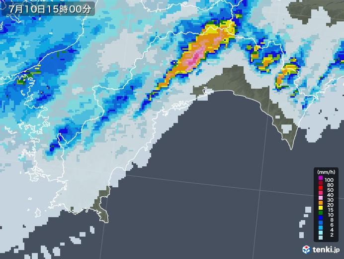 高知県の雨雲レーダー(2020年07月10日)