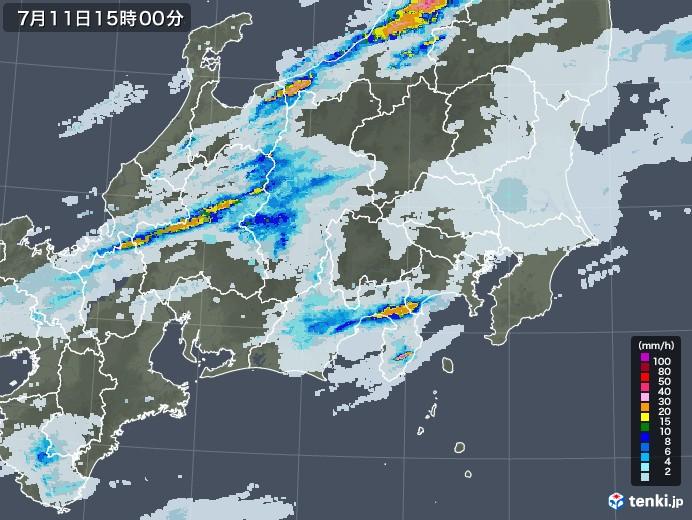 関東・甲信地方の雨雲レーダー(2020年07月11日)