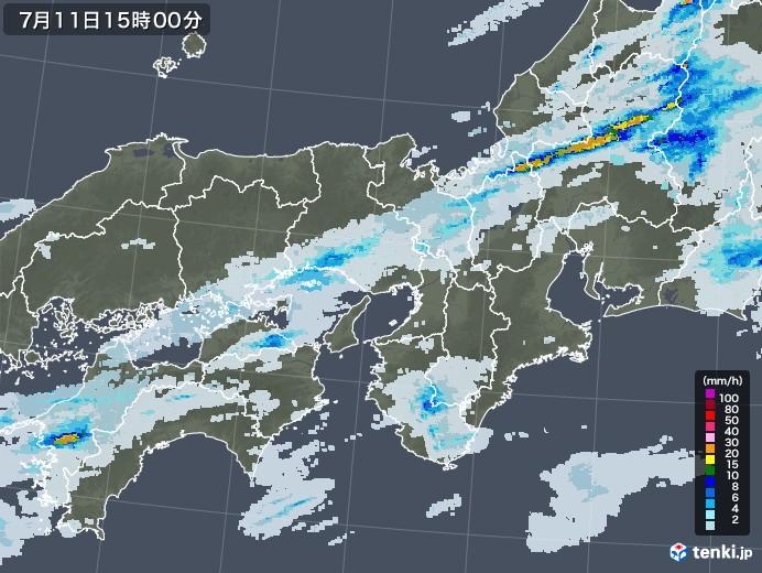 近畿地方の雨雲レーダー(2020年07月11日)