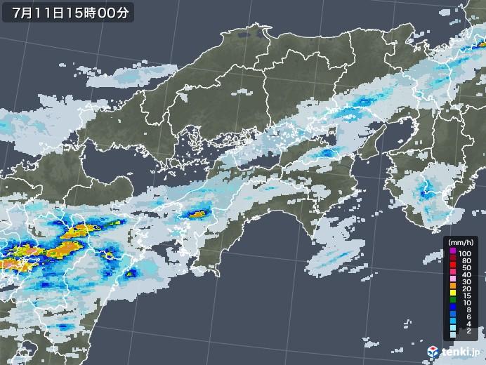 四国地方の雨雲レーダー(2020年07月11日)