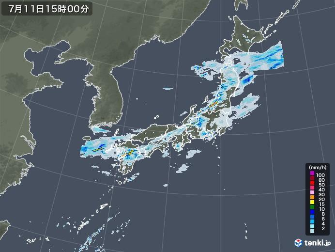雨雲レーダー(2020年07月11日)