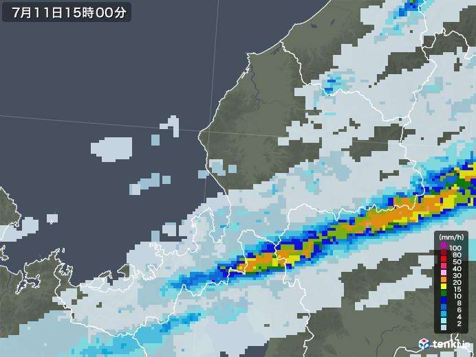 福井県の雨雲レーダー(2020年07月11日)
