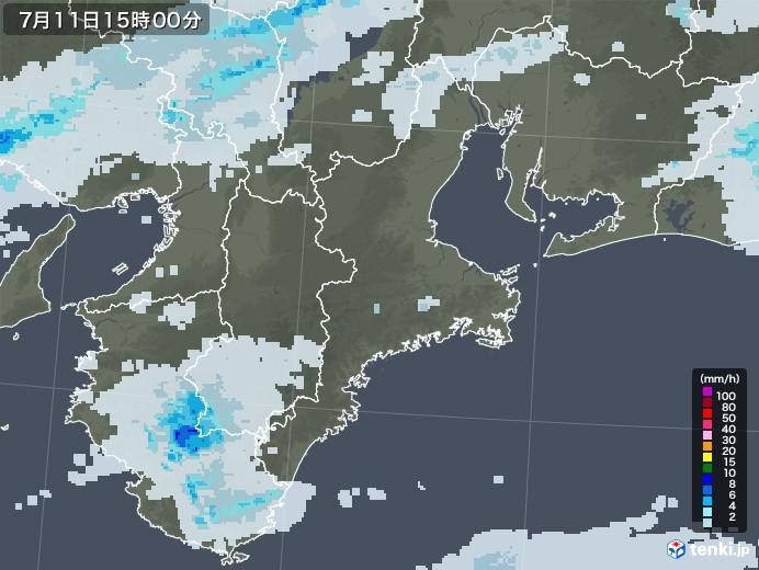 三重県の雨雲レーダー(2020年07月11日)