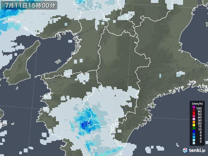 奈良県の雨雲レーダー(2020年07月11日)