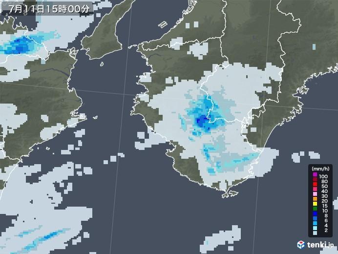 和歌山県の雨雲レーダー(2020年07月11日)