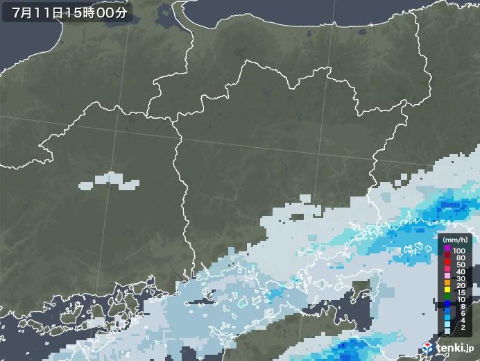 岡山県の雨雲レーダー(2020年07月11日)