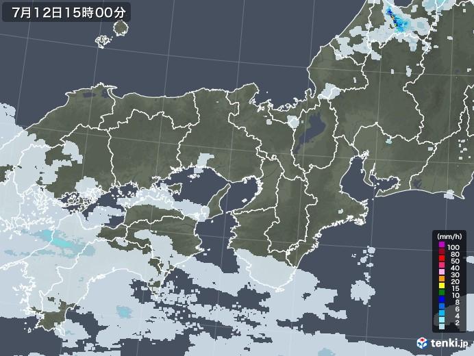 近畿地方の雨雲レーダー(2020年07月12日)