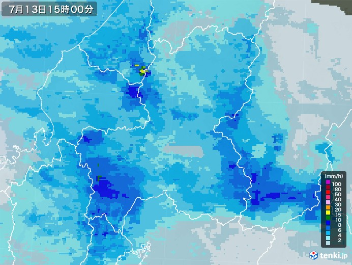 岐阜県の雨雲レーダー(2020年07月13日)