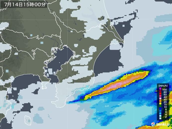 千葉県の雨雲レーダー(2020年07月14日)