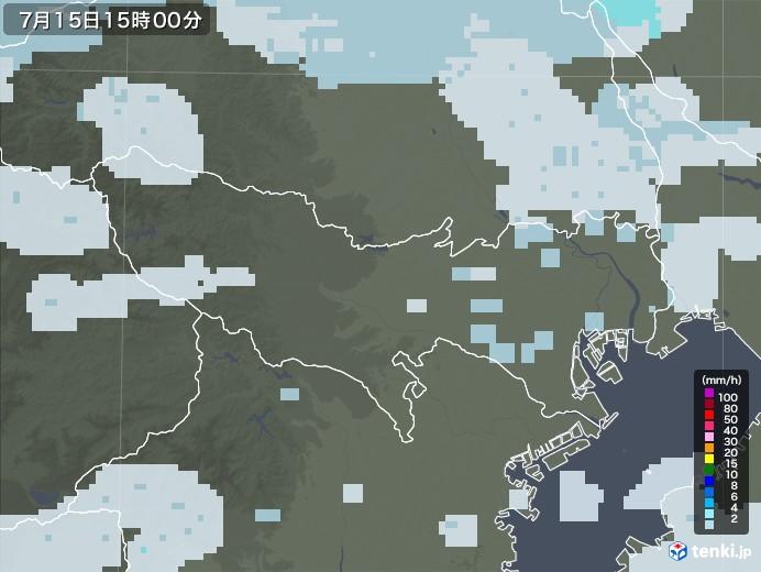 東京都の雨雲レーダー(2020年07月15日)