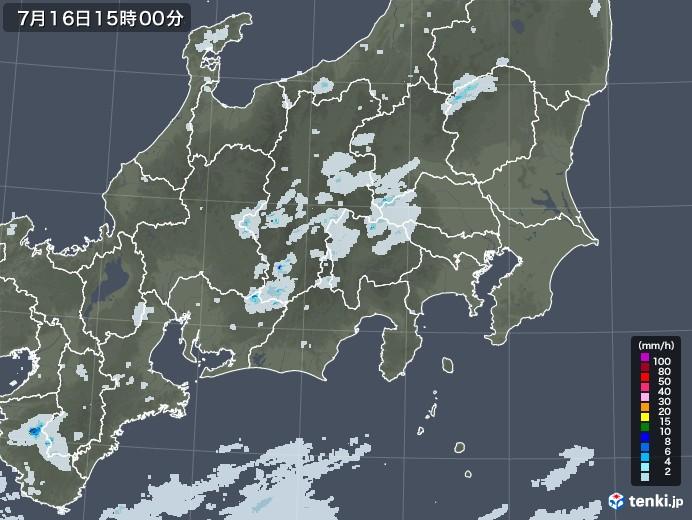 関東・甲信地方の雨雲レーダー(2020年07月16日)