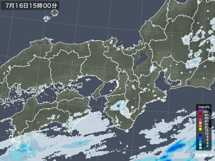 近畿地方の雨雲レーダー(2020年07月16日)