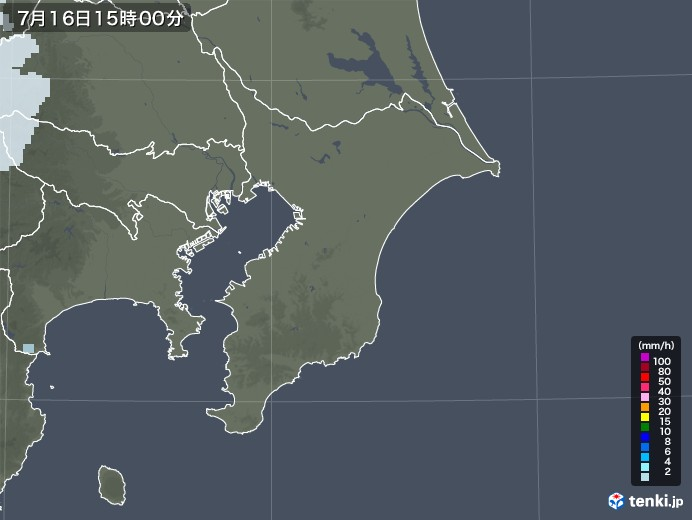 千葉県の雨雲レーダー(2020年07月16日)