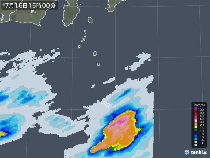 伊豆諸島(東京都)の雨雲レーダー(2020年07月16日)