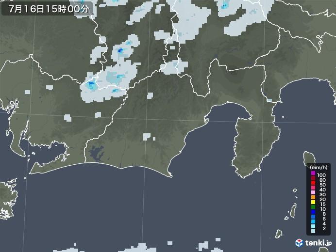 静岡県の雨雲レーダー(2020年07月16日)