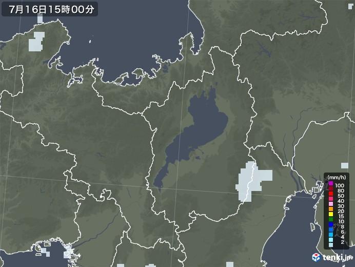滋賀県の雨雲レーダー(2020年07月16日)