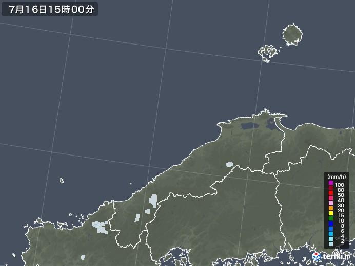 島根県の雨雲レーダー(2020年07月16日)